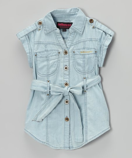Light Wash Chambray Short-Sleeve Button-Up Tunic - Girls