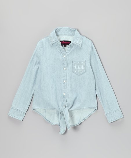 Light Wash Chambray Rhinestone Button-Up - Girls