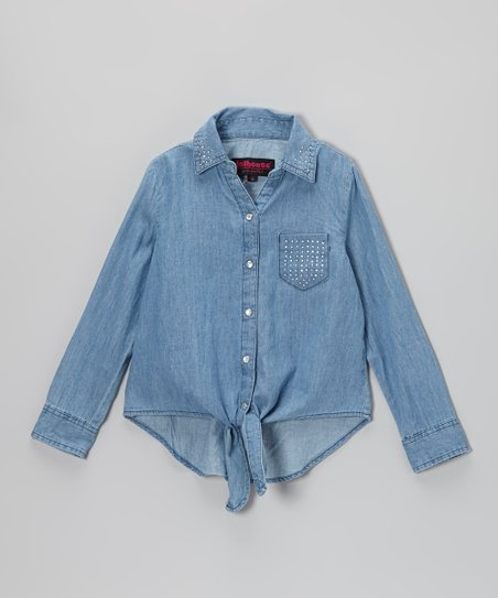 Dark Wash Chambray Rhinestone Button-Up - Girls