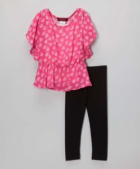 Hot Pink Heart Chiffon Top & Leggings - Toddler & Girls