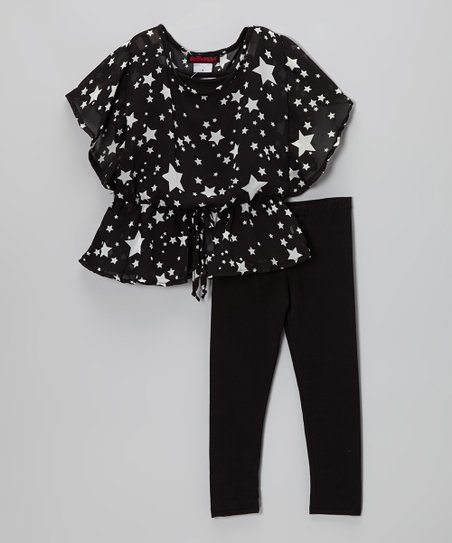 Black Star Chiffon Top & Leggings - Toddler & Girls