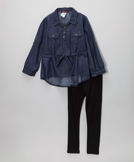 Dark Wash Chambray Button-Up Tunic & Leggings - Girls