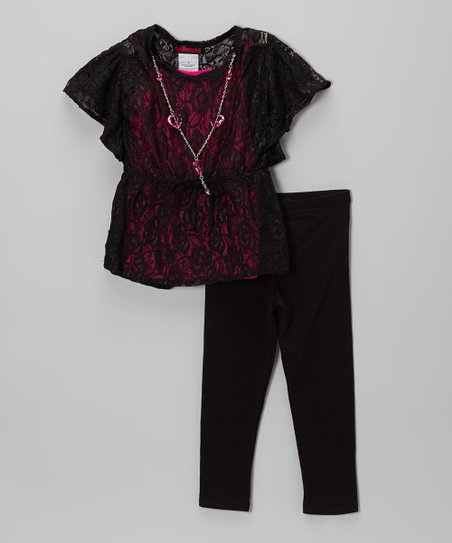 Hot Pink & Black Lace Top Set - Girls