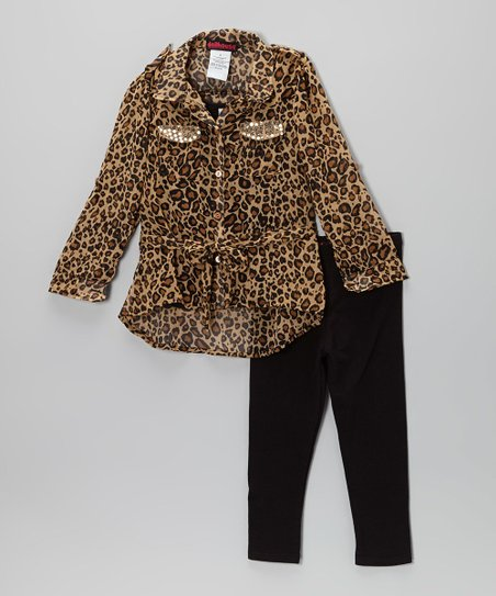 Brown Leopard Button-Up Tunic & Leggings - Toddler & Girls