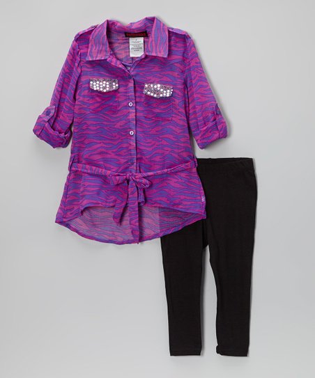 Purple Zebra Chiffon Button-Up Tunic & Leggings - Toddler & Girls