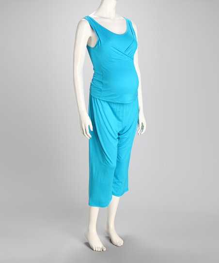 Aqua Too Cool Nursing Capri Pajamas - Women