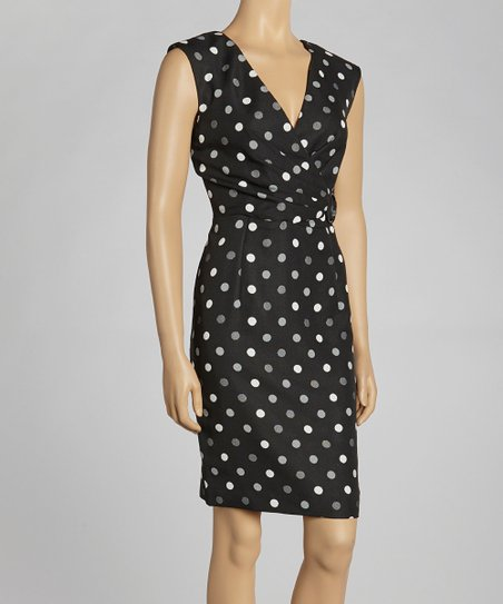 Black & Ivory Polka Dot Surplice Dress