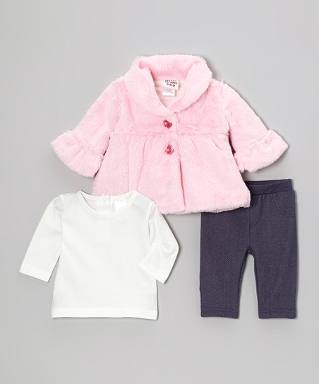 Pink Faux Fur Swing Coat Set - Infant & Toddler