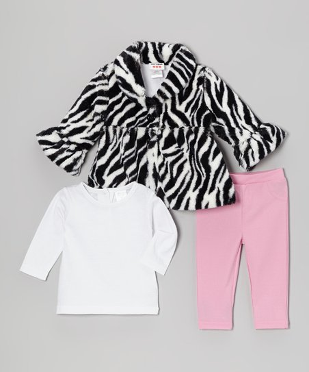 Zebra Faux Fur Swing Coat Set - Infant
