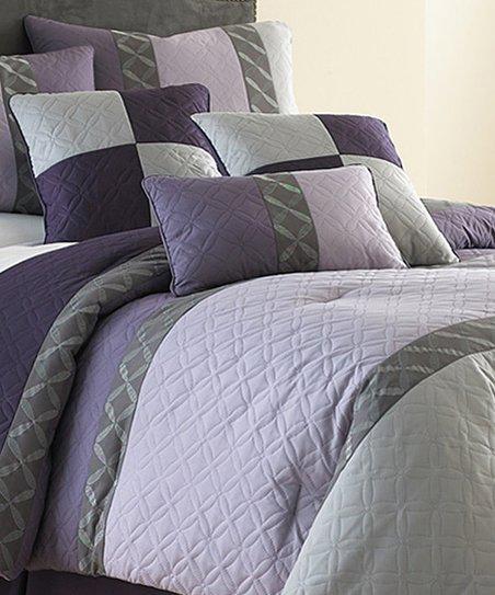 Violet Embroidered Comforter Set