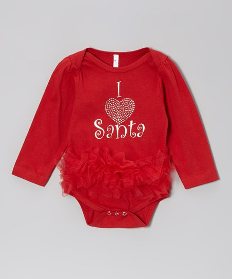 Red 'I Love Santa' Ruffle Bodysuit - Infant
