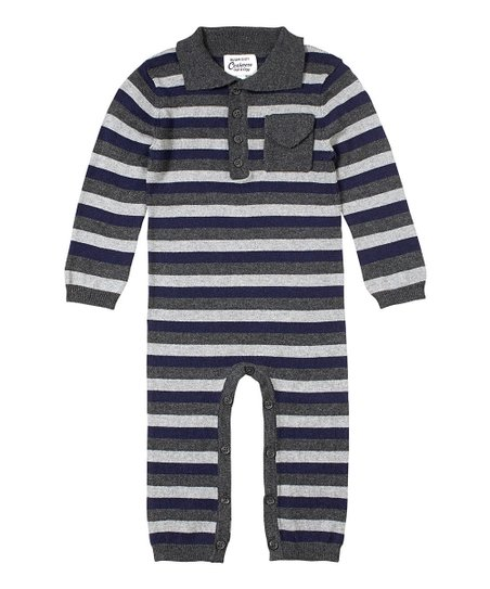 Navy & Gray Henley Playsuit - Infant