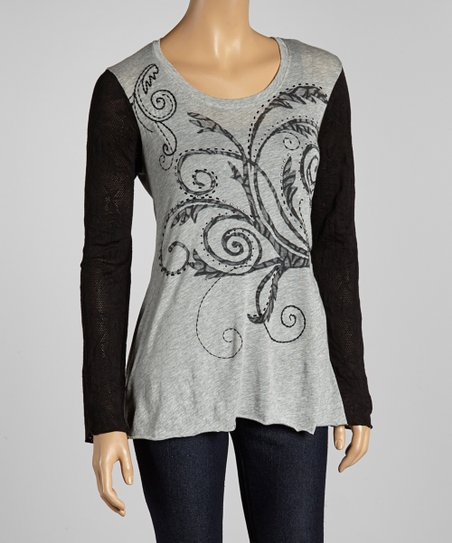 Black & Gray Tendril Top