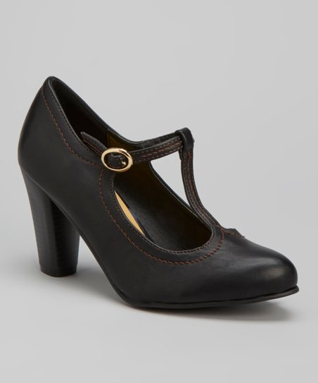 Black Jolie T-Strap Pump