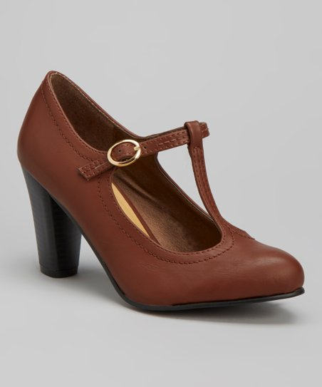 Brown Jolie T-Strap Pump