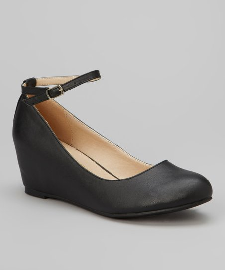 Black Bobby Ankle-Strap Wedge