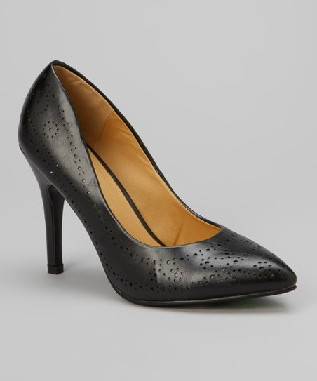 Black Perforated Carrie Pump