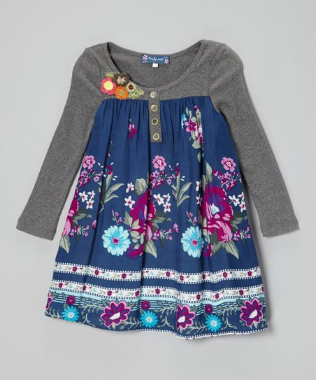 Navy Floral Border Henley Dress - Girls