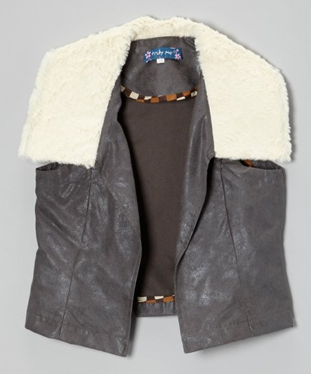 Gray & Ivory Faux Leather Sherpa Vest - Girls