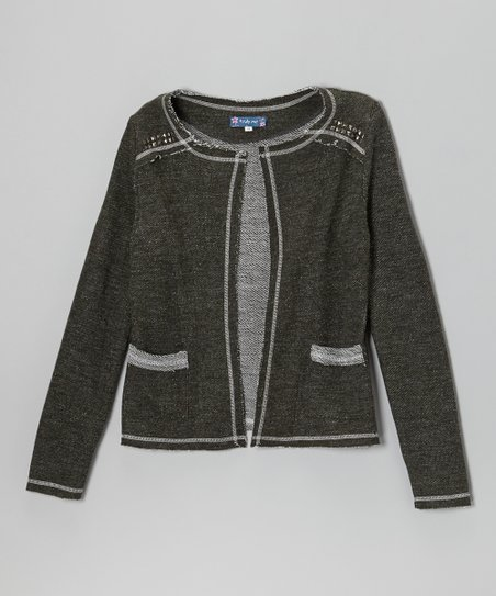 Dark Olive Studded Open Cardigan - Girls