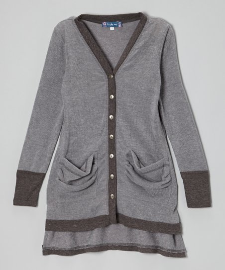Gray Hi-Low Cardigan - Girls