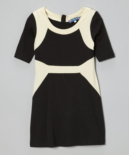 Black & Ivory Color Block Mod Dress - Girls