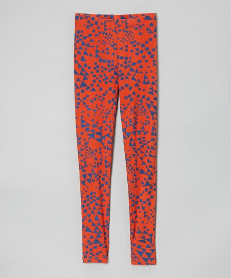 Orange Geometric Leggings - Girls