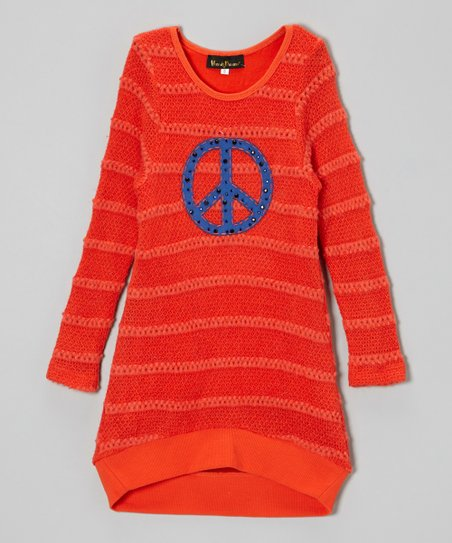Orange Peace Hi-Low Sweater Dress - Girls