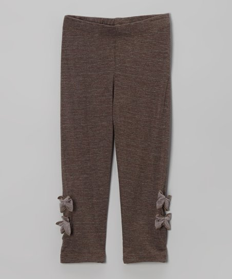 Brown Bow Leggings - Toddler & Girls