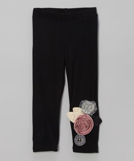 Black Rosette Leggings - Infant, Toddler & Girls