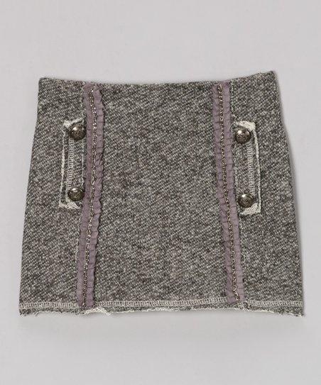 Gray Ruffle Chain Mini Skirt - Girls