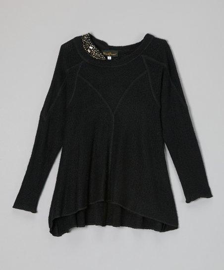 Black Studded Hi-Low Sweater - Girls