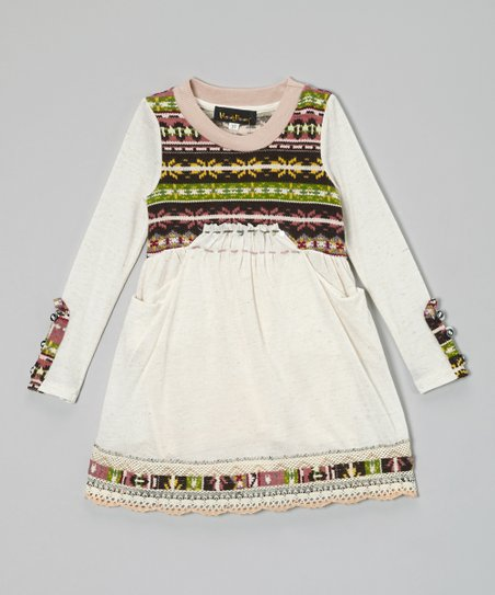 Ivory & Green Fair Isle Linen-Blend Dress - Toddler & Girls