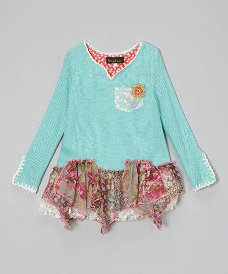 Blue Floral Crocheted Handkerchief Tunic - Girls