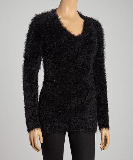Black Fuzzy V-Neck Sweater
