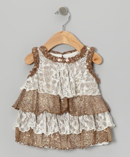 Ivory Lace Leopard Shimmer Tiered Top - Infant & Toddler