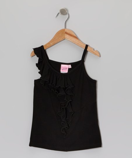 Black Asymmetrical Ruffle Tank - Toddler & Girls