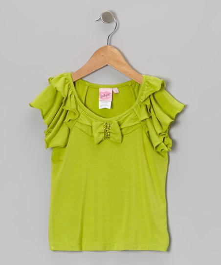 Green Ruffle Top - Girls
