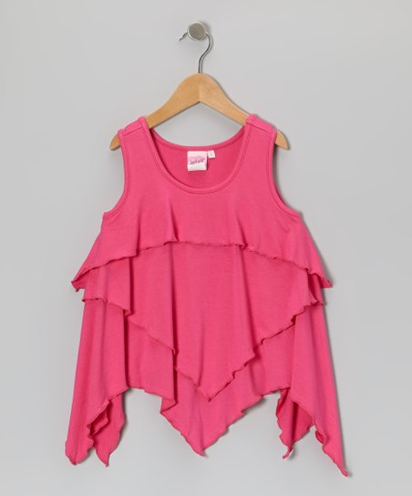 Hot Pink Ruffle Layered Tank - Toddler & Girls