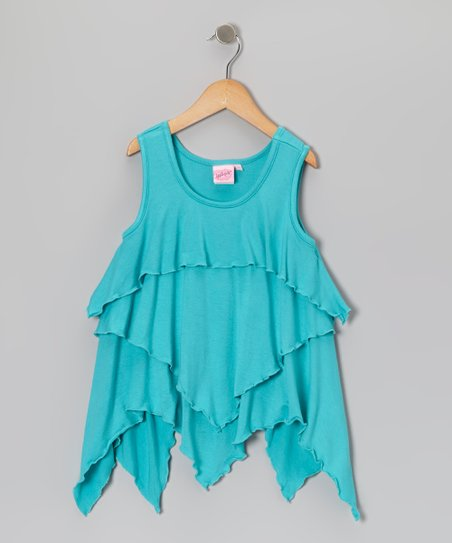 Blue Ruffle Layered Tank - Toddler & Girls