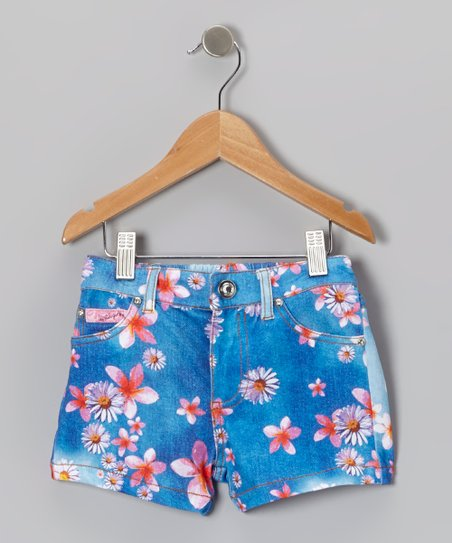 Denim Blue Daisy Sublimation Shorts - Toddler & Girls