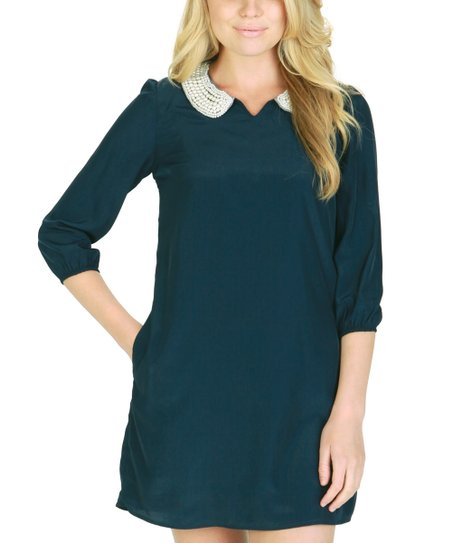 Twilight Blue Pearl-Collar Shift Dress