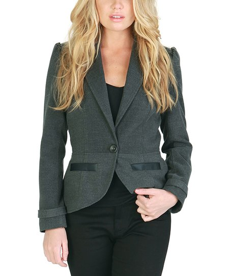 Gray & Black Faux Leather-Trim Blazer