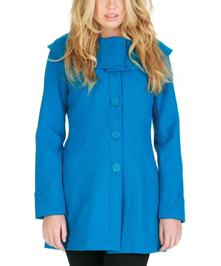 Mediterranean Blue Wool-Blend Coat