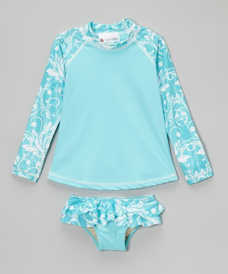 Aqua Lagoon Long-Sleeve Rashguard Set – Toddler & Girls