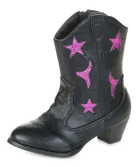 Black Vega Cowboy Boot - Kids
