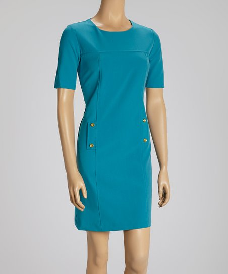 Teal Button Dress