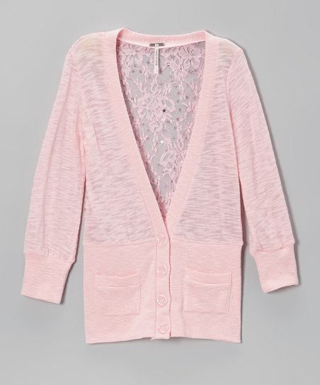 Soft Pink Lace-Back Cardigan