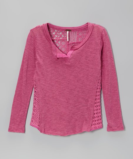 New Pink Heather Crocheted Back Tee
