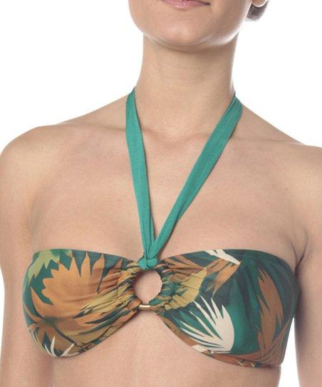 Teal & Tan Palm Halter Bikini Top